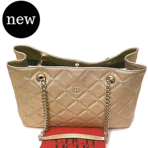 Authentic Carolina herrera Quilted Leather Gold bag