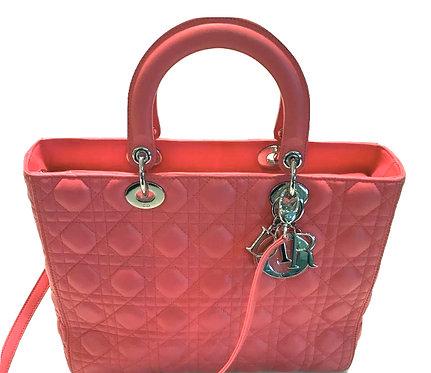 Authentic Dior Pink Lambskin Large Lady Dior original price 4400$