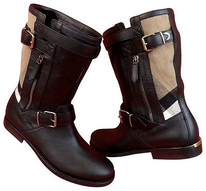 Authentic Burberry Grantville Leather Check black Boot ZS 37
