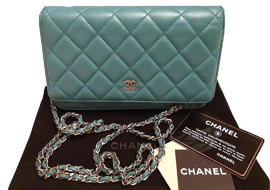 Authentic Chanel Wallet on Chain Classic Turquoise Lambskin Cross Body Bag