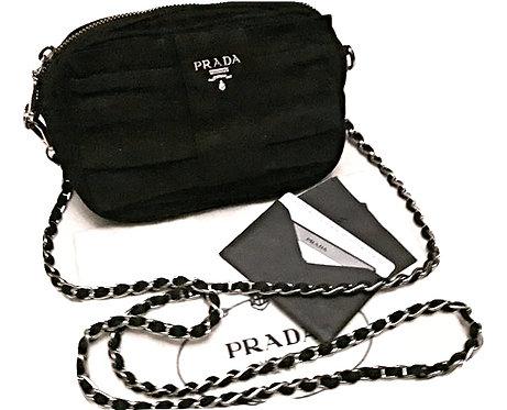 Authentic prada chain crossbody black bag with Silver Hardware