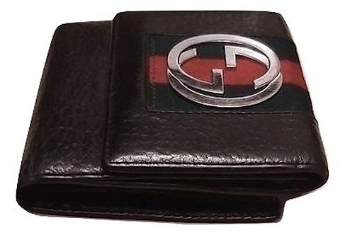Authentic Gucci Black leather silver Gg logo Wallet