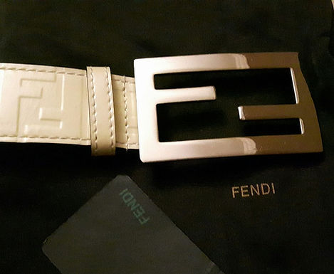 authentic FENDI FF Buckle Beige Leather Belt