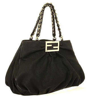 Authentic Fendi Black corda canvas Grande Mia Shoulder Bag