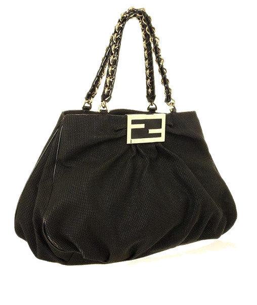 Authentic Fendi Black corda canvas Grande Mia Shoulder Bag