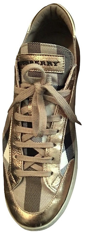 Authentic Burberry Light Gold Hartfields women's Sneakers SZ37