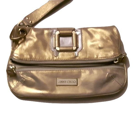 Authentic Jimmy Choo Metallic Gold Leather Mave Foldover Clutch