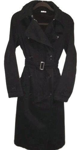 Authentic MIU MIU Womans Black Trench coat w/ Vegan Coco Fur lining -M