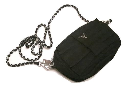 da59f092a1b6 Authentic prada chain crossbody black bag with Silver Hardware