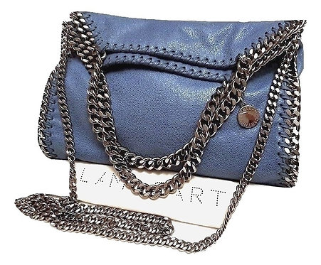 Authentic Stella Mccartney Falabella small Blue Faux Leather Cross Body Bag