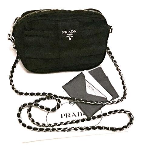 72fc721f45c2 Authentic Prada chain cross body black bag with Silver Hardware