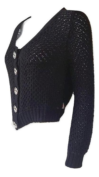 Authentic burberry women Short Cardigan Black Sweater Medium