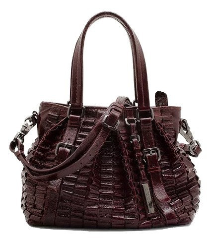 Authentic Burberry Burgundy Leather Cartridge Pleat Tote