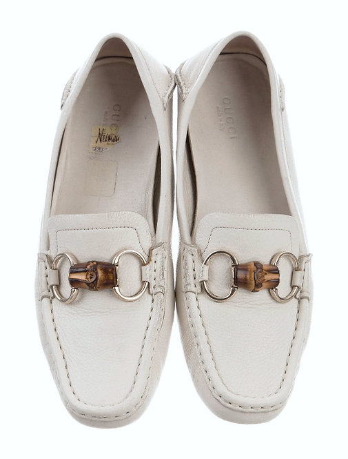 Authentic Gucci invory Leather Bamboo HorsebitnLoafers Size 36.5