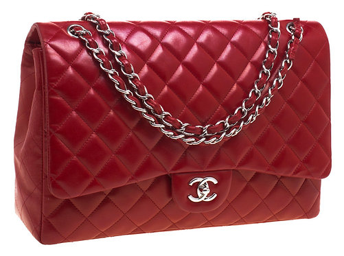 Authentic Chanel Red Quilted Maxi Classic Bag