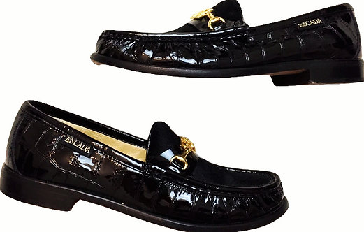 Authentic Escada Black Leather & Pony Hair Slip On Loafers Womens Size 6.5