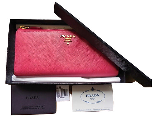 Authentic prada women long leather wallet