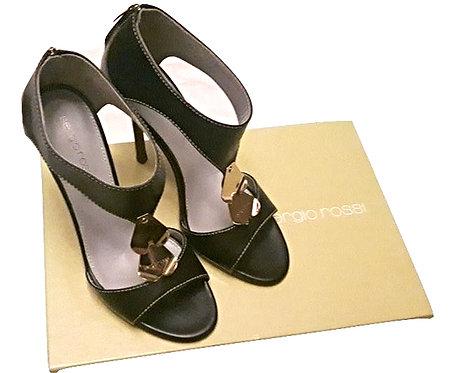 Authentic sergio rossi black&gold sandals SZ 37.5