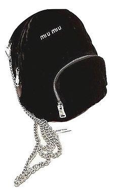 Authentic Miu Miu Mini Matelasse Black Velvet Backpack Crossbody Bag