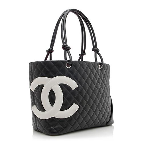 Authentic Chanel Black Quilted Leather Medium Ligne Cambon Bucket Tote