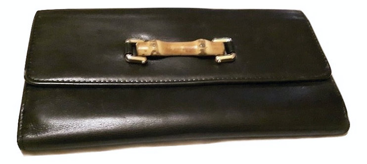 Authentic Gucci soft leather black bamboo Long wallet