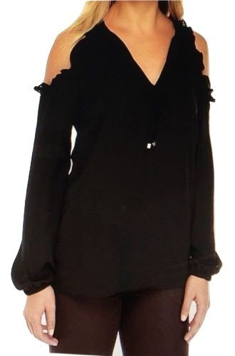Michael Kors Ruffle Shoulder Black Top Women's Sz M