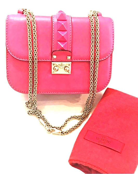 Authentic Valentino pink Glam Lock Rockstud Small Chain Shoulder Cross Body Bag