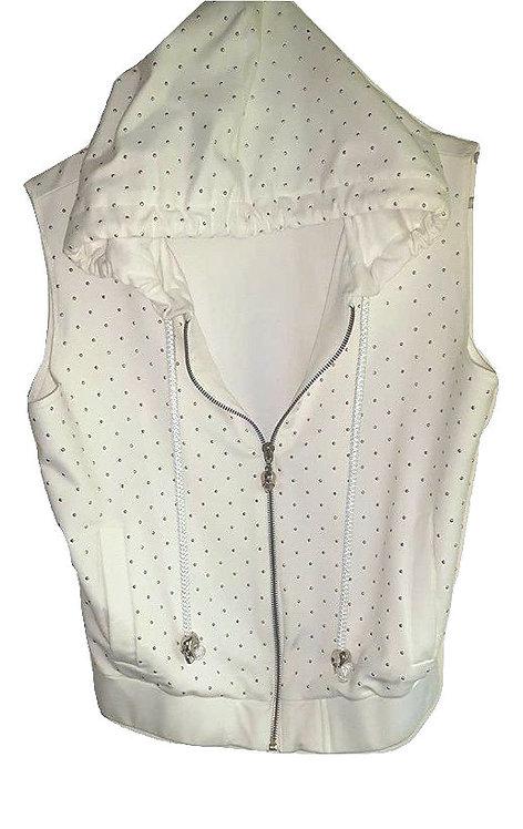 Authentic Phillip Plein women's offwhite vest hoodie SZ S/M