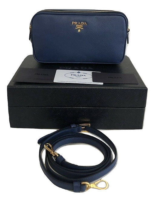 Authentic prada Navy Blue Vitello mini bag