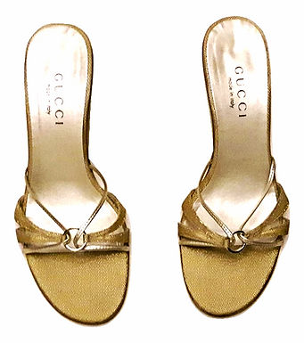 Athentic Gucci Women Gold Sandals