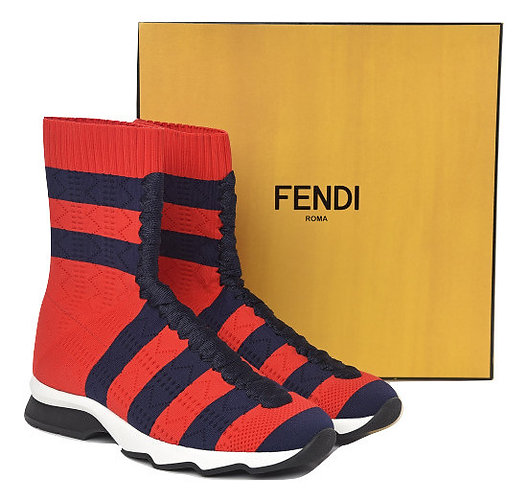 Authentic Fendi Red/ Blue Knit Socks Sneakers UK3/ 36