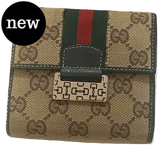 Authentic Gucci Tan with Red/Green Accents Wallet