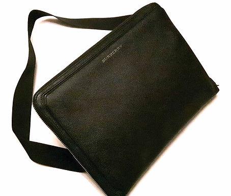 Authentic Burberry London Hyson Black Leather Document Messenger Bag