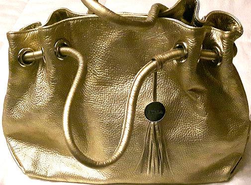 AUTHENTIC Furla Gold Metallic Leather Carmen Shopper Tote
