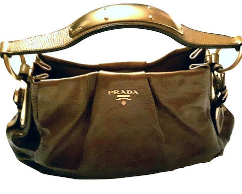 Authentic Prada Gold Ombre Crinkled Patent Leather Top Handle Hobo Bag