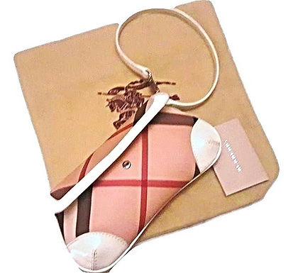 Authentic new Burberry Beige/White Nova Check Canvas and Leather Clutch