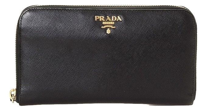 Authentic Prada Powder black Saffiano Leather Zip Around Walle