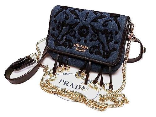 Authentic Prada Women's Belt Fanny Pack Embroidery Cross Body