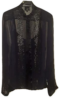 Authentic Roberto Cavalli women's Black Sheer Blouse SZ M