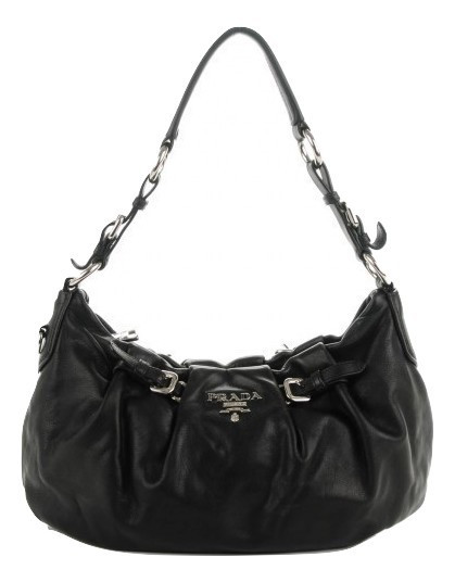Silver Hardware Theultimatebag Authentic Prada Soft Calf Black Calfskin Leather Shoulder Bag