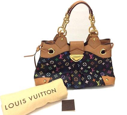 Authentic Louis Vuitton Black Multicolor Monogram Canvas TH4047