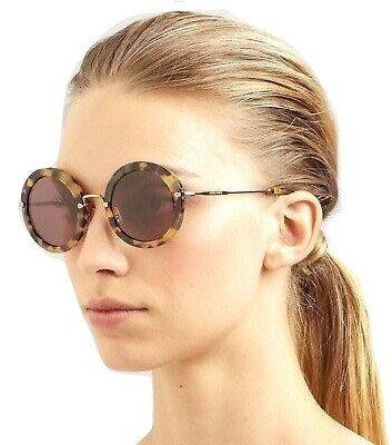Authentic Miu Miu SMU13N 7SO Havana Round Sunglasses