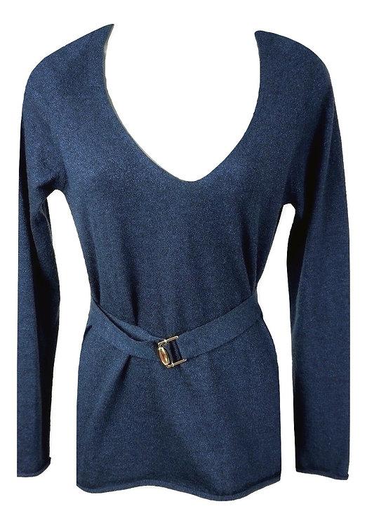 Authentic Women's Gucci Blue Metallic V-Neck Sweater SZ M