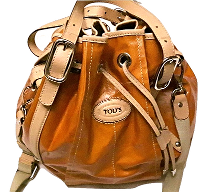 Authentic Tod's orange coated canvas drawstring bucket bag