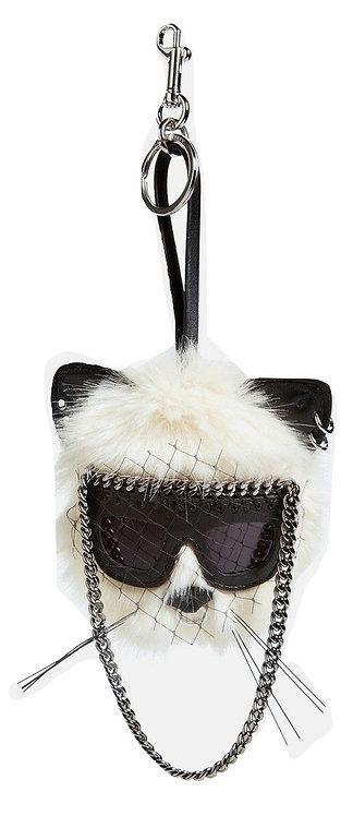 Authentic Stella McCartney Ivory Faux fur Cat Bag Charm