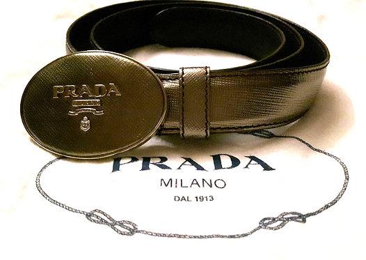 "authentic prada women bronze to gold belt 32"" small"