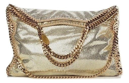 Authentic Stella McCartney Shaggy Deer Gold 3 chain Falabella bag