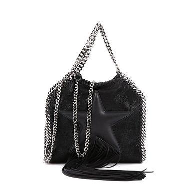 Authentic Stella mccartney Black Shaggy Star Fringe Shoulder Bag
