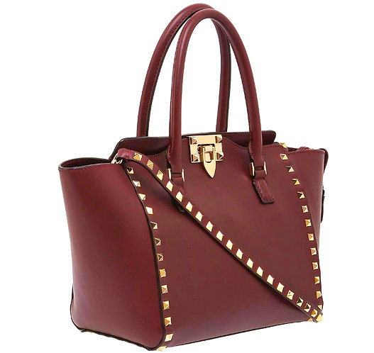 Authentic Valentino dark red Leather Medium Rockstud bag
