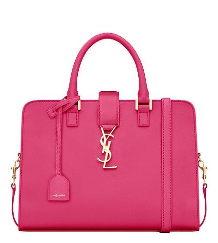 Authentic Saint Laurent Paris Red Leather Small Cabas Monogram Top Handle Bag